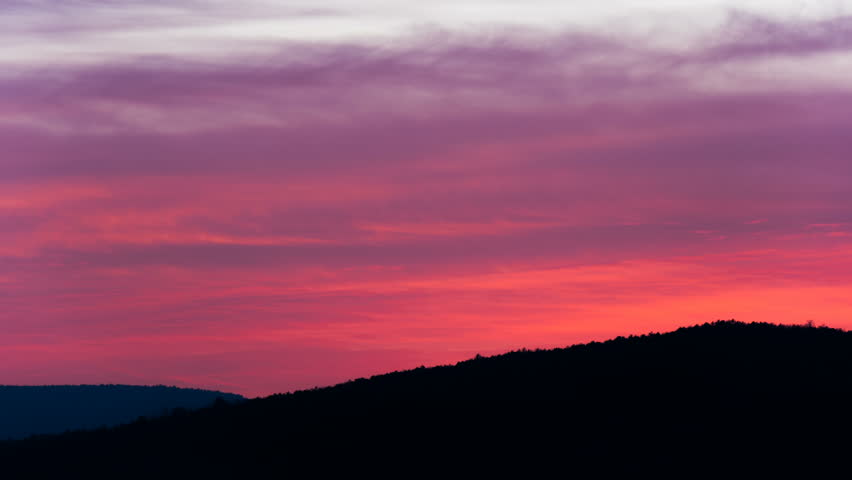 red sunset sky over mountain stock footage video  100  royalty