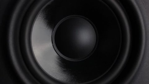 Closeup at moving sub-woofer on studio speaker.