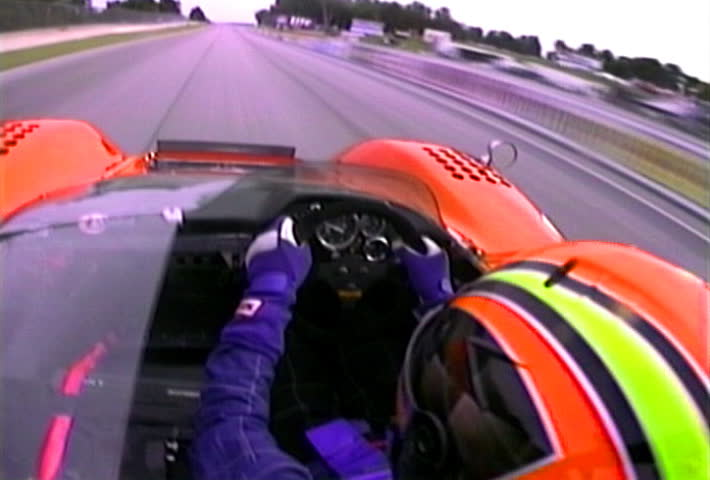 ELKHART, WISCONSIN - CIRCA JUNE 1996: Point of view of an unidentified racer at the Chicago Historics event on the Road America race track in Elkhart, Wisconsin circa June 1996.