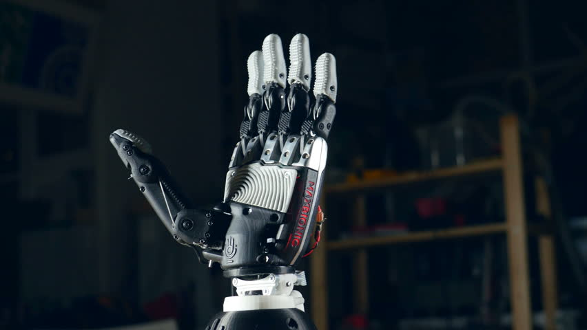 Bionic arm. Innovative robotic hand made on 3D printer. Futuristic technology. #23883196