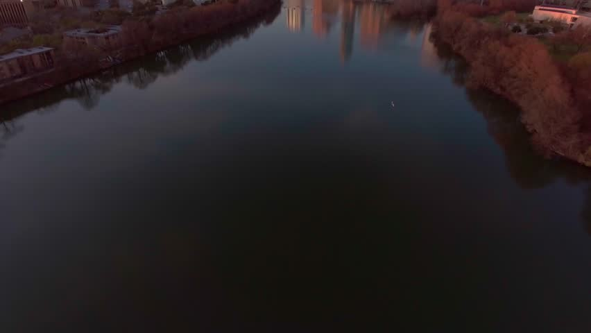 Rowing During Sunset in Downtown Austin, Texas by Drone | Shutterstock HD Video #23912146