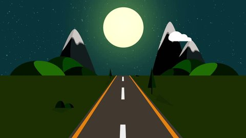 Ride through a cartoon highway seamless loop  animated road at night with  starry sky and big moon with space for your object, text or logo seamlessly  loop  colorful cartoon nature background