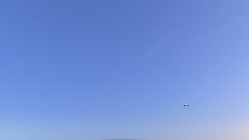 Twin engine commercial airplane arriving to Dakar airport. Travelling to Senegal conceptual 4K animation