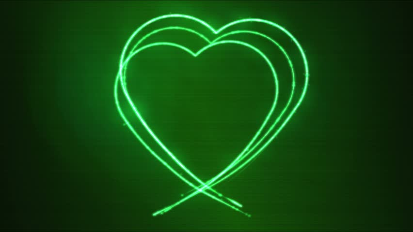 Line Drawing Heart Shape : Heart shaped growing shiny particle and line green color stock