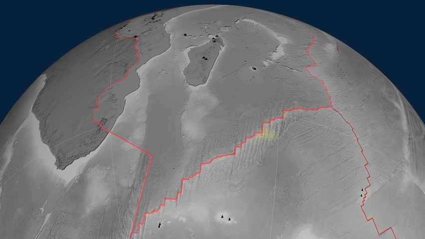 Somalia tectonics featured. Elevation grayscale. Plate extruded and animated against the globe. Tectonic plates borders (newest division), earthquakes by strength & volcanic cones | Shutterstock HD Video #23960326