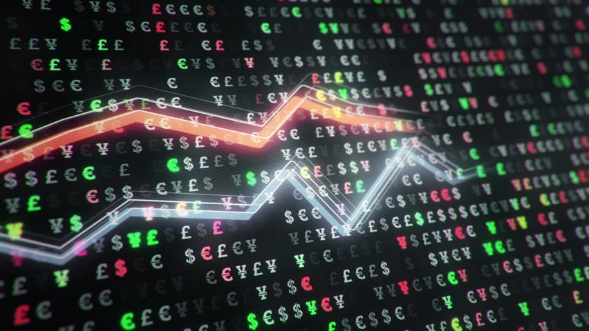 Technological background with growth of charts and graphs on binnary code backdrop. Symbols of business or finance with glowing glass surface. Seamless loop. | Shutterstock HD Video #23970406