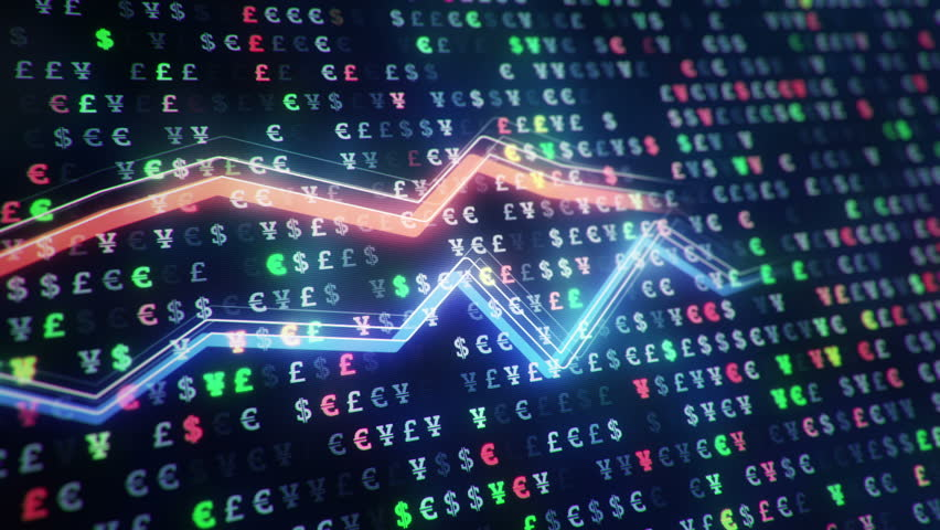 Technological background with growth of charts and graphs on binnary code backdrop. Symbols of business or finance with glowing glass surface. Seamless loop. | Shutterstock HD Video #23971768