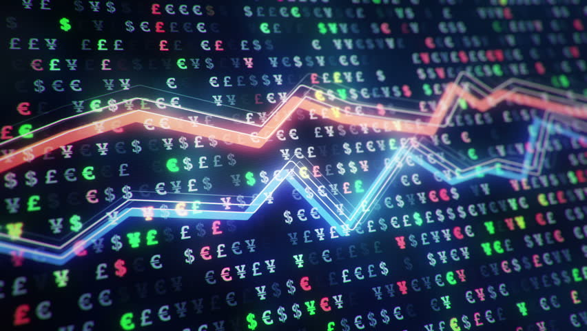 Technological background with growth of charts and graphs on binnary code backdrop. Symbols of business or finance with glowing glass surface. Seamless loop. | Shutterstock HD Video #23971801