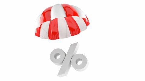 Parachute with percent symbol isolated on white background