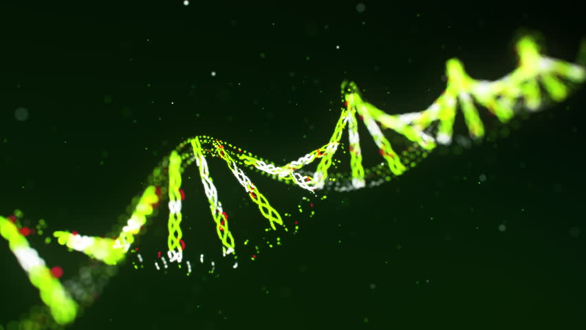 Computer animated background with spinning green DNA molecule