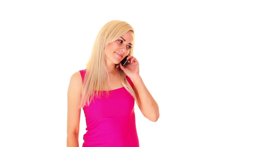 young blonde woman talking by mobile phone, over white background