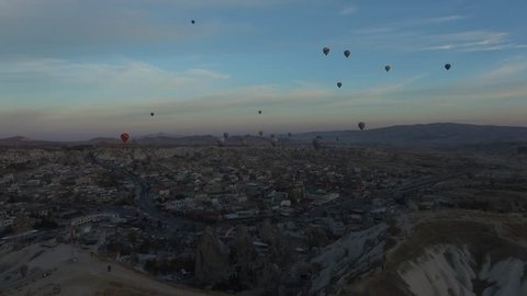 Aerial view of Cappadocia, Goreme, Turkey. Kapadokya.