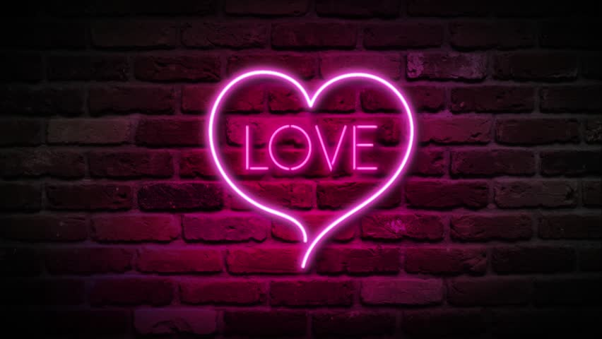 Stock video clip of neon love sign neon heart sign for Love sign