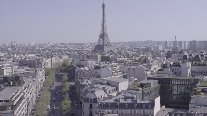 PARIS, FRANCE - MAY 03, 2016: View of Paris with Eiffel tower from The Arc de Triomphe | Shutterstock HD Video #24062986