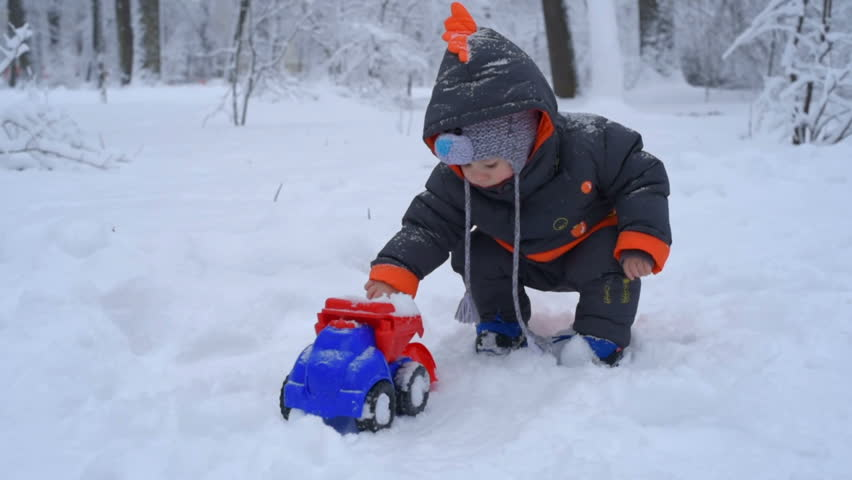 Children's Winter Games Outdoors. The Image Of A Child ...