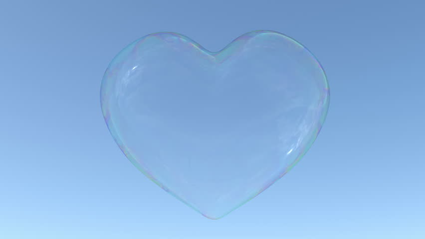 Soap bubble in the shape of heart floats in the air, stops in the middle of screen and continues its flight up. Loop ready animation of soap bubble.