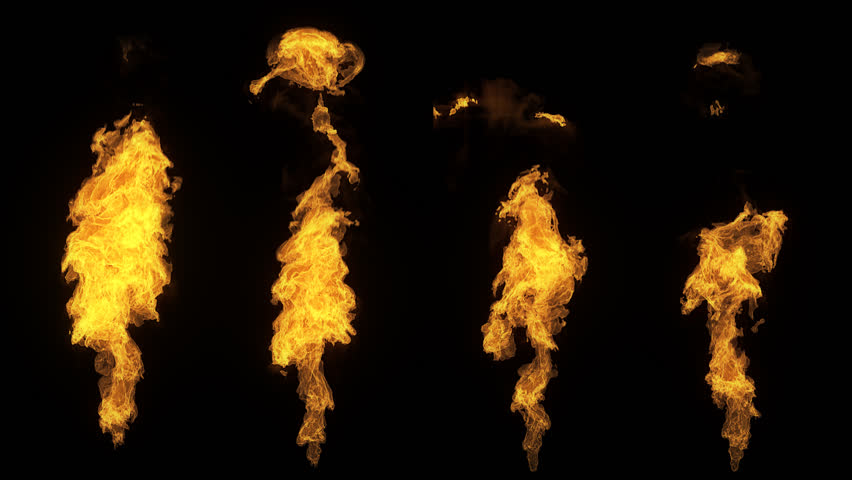 A set of 4 isolated fire flames, slow motion gas ignition from bottom to top, high speed flamethrower isolated on black background with alpha channel, perfect for digital composition, video mapping. | Shutterstock HD Video #24175444