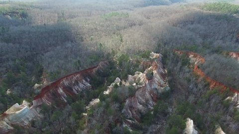Aerial Canyon shot on Providence Canyon State Park in Lumpkin Georgia