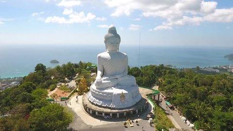 White Big Buddha Statue Temple Aerial View. HD. Karon, Phuket, Thailand.