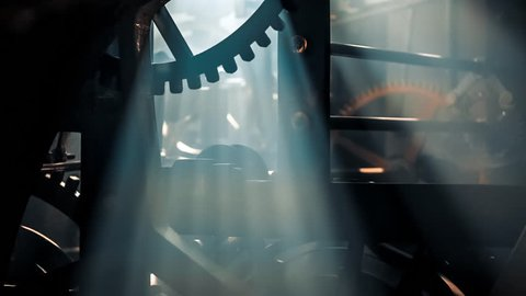 Close up of large clock mechanism ticking