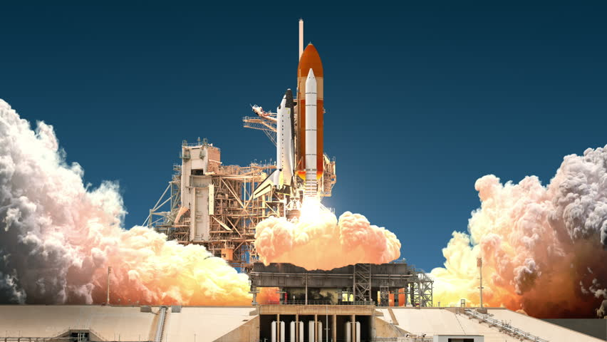 Space Shuttle Launch. Realistic 3D Animation. 4K. Ultra High Definition. 3840x2160. #24197836