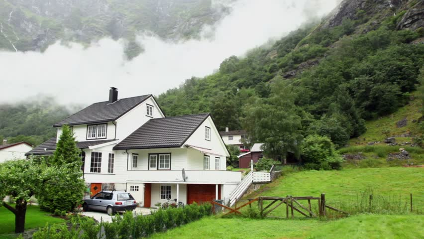 Swiss Mountain House small village in swiss, switzerland houses stock footage video
