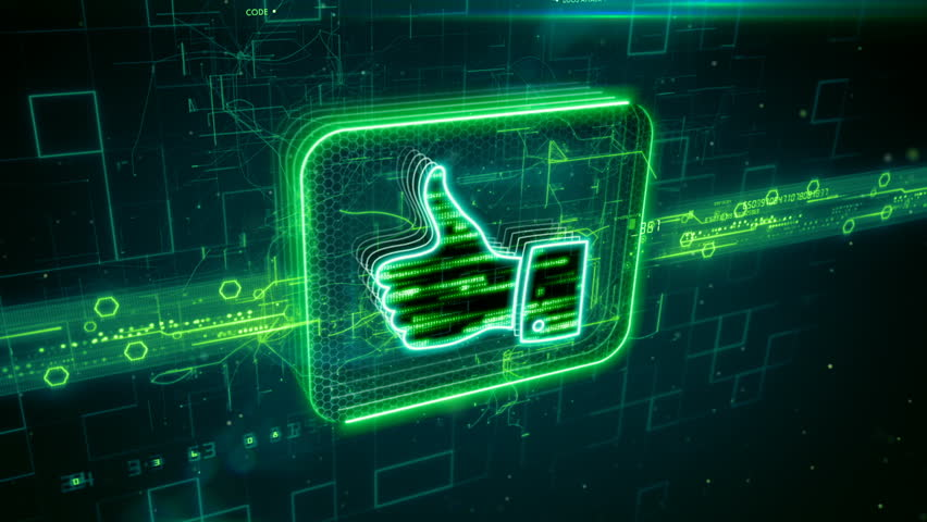 Abstract animation of thumbs up (like) icon in digital cyberspace | Shutterstock HD Video #24205216