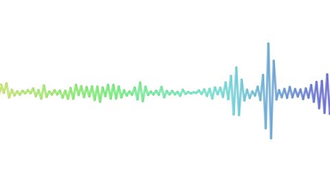Sound waves moving graphic illustration. Concept of music, audio and volume animated as a digital pulse.