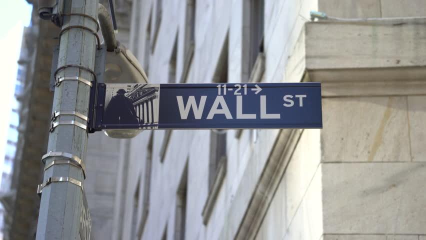 Wall street sign, slider shot - New York City, Manhattan