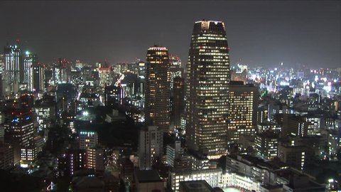 View of very futuristic city at night in Tokyo Japan