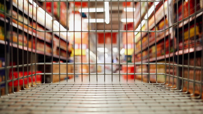 Shopping cart moving through supermarket | Shutterstock HD Video #24298424