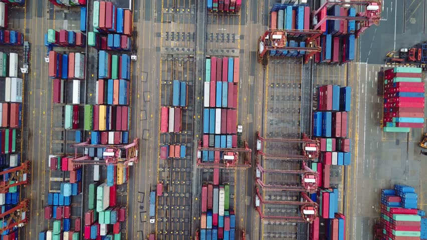 Aerial view of huge industrial port with containers. Blurred all brand marks. | Shutterstock HD Video #24324506