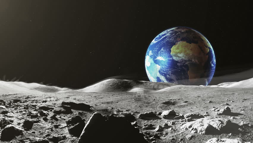 Earth View From The Moon Stock Footage Video 100 Royalty