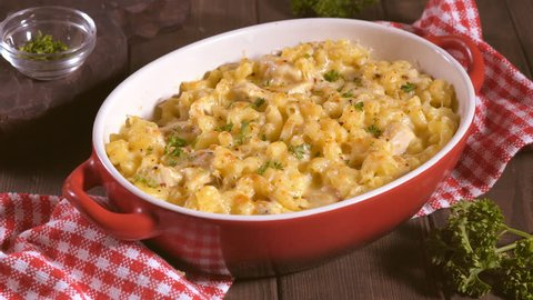 Baked Macaroni and cheese with chicken casserole