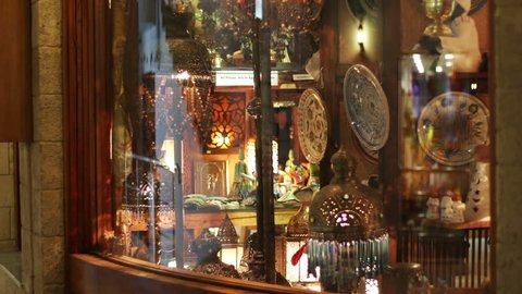 EGYPT, SOUTH SINAI, SHARM EL SHEIKH, NOVEMBER 28, 2016: Beautiful storefront.Beautiful storefront with interesting lamps and souvenirs. Soho square.