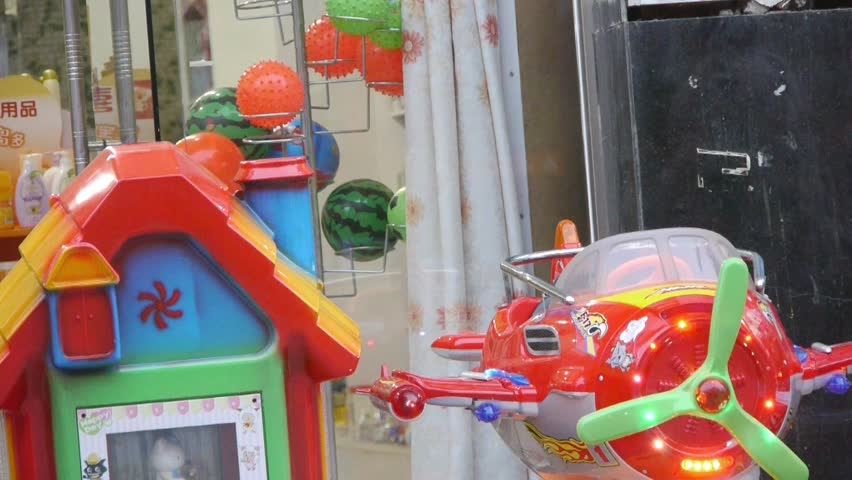 Tai an,China - Aug 2016:Toy plane & house and young children. gh2_02694