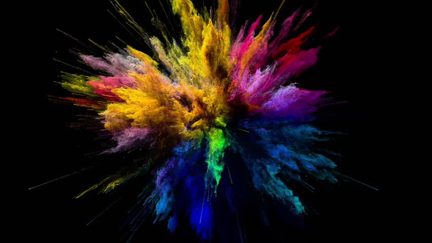Cg animation of color powder explosion on black background. Slow motion movement with acceleration in the beginning and orbiting camera. Has alpha matte. | Shutterstock HD Video #24364160