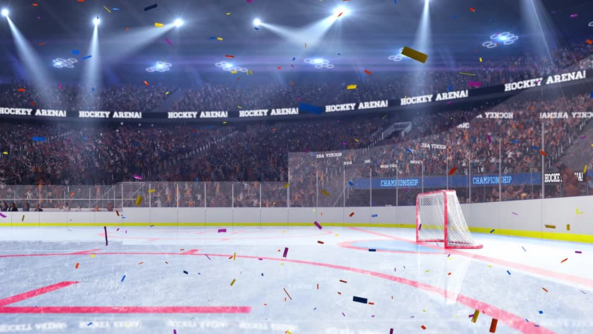 Color Sport Background Football Basketball Hockey Stock: Hockey Stadium With Confetti. Sports Event. Stock Footage