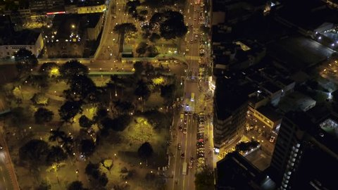 Lima Peru Aerial v26 Flying low over Miraflores area at night looking down. 12/15