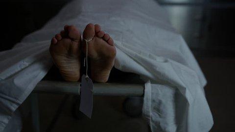 Morgue - slow motion toe tag swinging