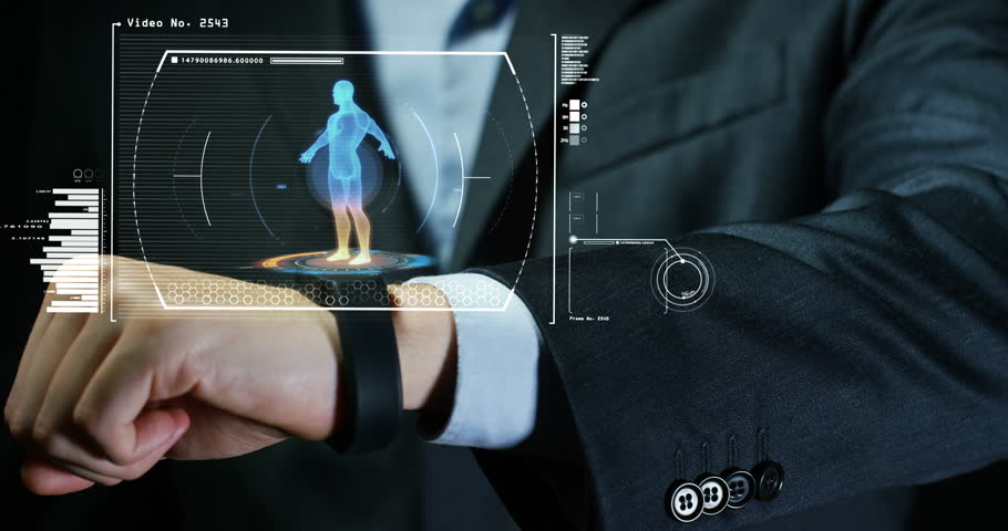 A man from the phone appears in hologram performs a health check, its futuristic and technological clock,. Concept: network, communication, family, technology, augmented reality and health care | Shutterstock HD Video #24406526