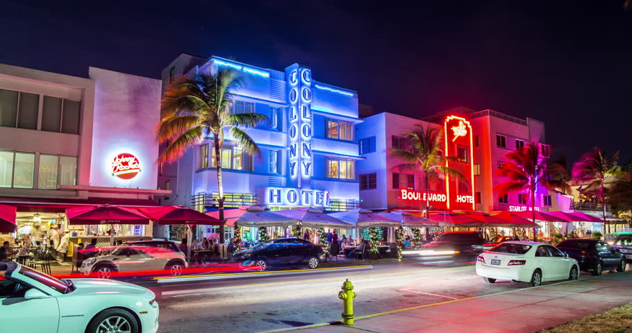 Miami 2014 - Stunning 4K time lapse of the Colony Hotel on Ocean Drive in Miami, Florida