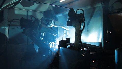 Robot welding machinery in industry