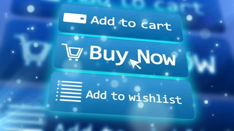 3 button of online shop and mouse arrow over them. Add to cart. Buy now. Add to wishlist. Concept of online internet shopping e-commerce.