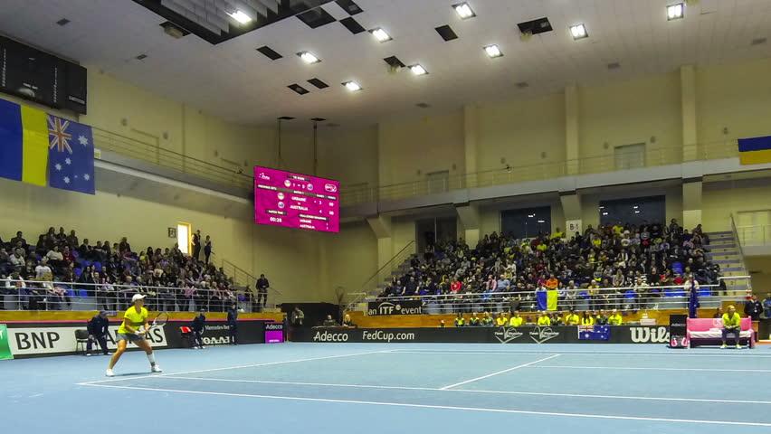 KHARKIV, UKRAINE - FEBRUARY 11, 2017: Panoramic view of tennis court of Palace of Sports Lokomotiv during BNP Paribas FedCup game Ukraine vs Australia, Kharkiv, Ukraine (Time Lapse)