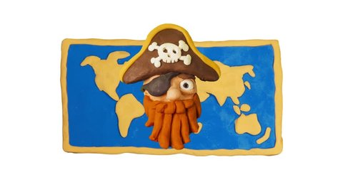 Funny Clay Pirate Had and world map. Pirate Party. Clay animation. 4K