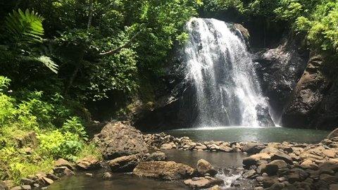 Slow motion of Vuadomo Waterfall near Savusavu in Vanua Levu Island,  Fiji