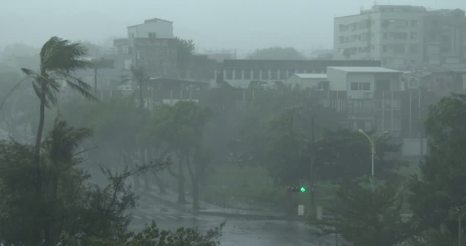 Strong Wind And Heavy Rain Pour Down On City As Hurricane Hits. Originally shot in 4K on Sony PXW Z100 4096x2160 60p - Megi