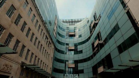London,BBC News,The main entrance to BBC News Company,February,2017.