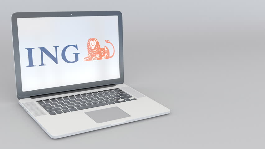 Rotating opening and closing laptop with ING Group logo. Computer technology conceptual editorial 4K clip